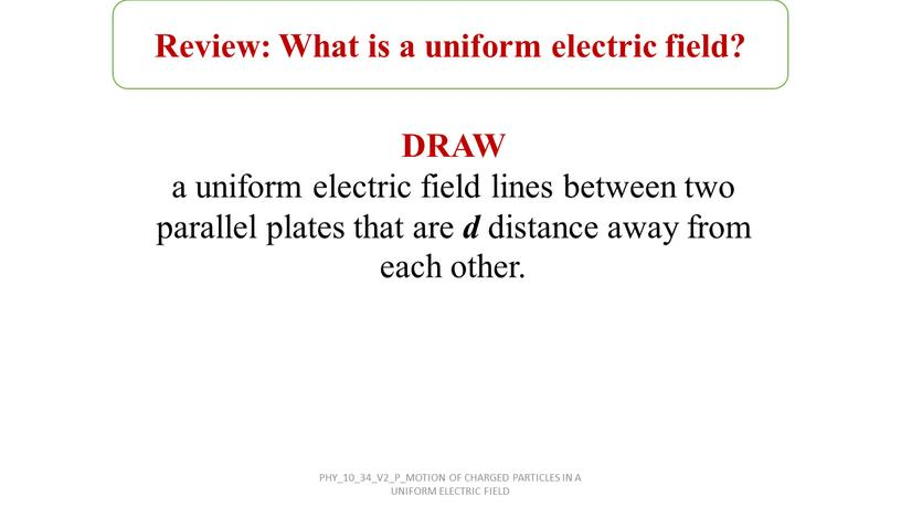 Review: What is a uniform electric field?