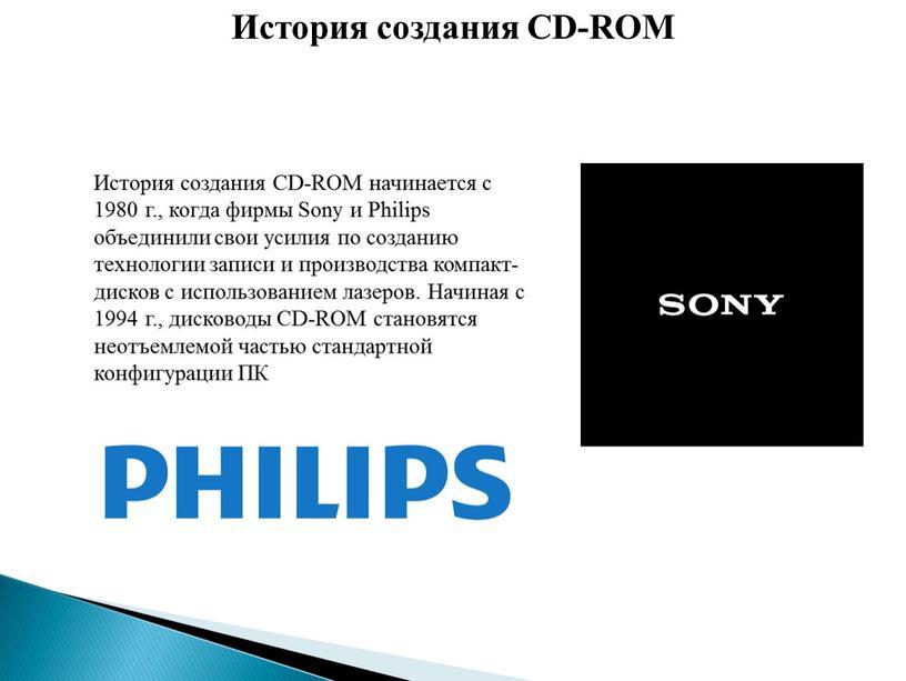 История создания CD-ROM начинается с 1980 г