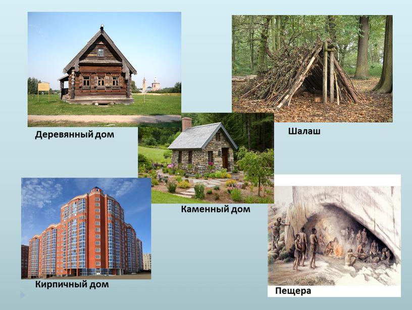Деревянный дом Шалаш Пещера Кирпичный дом