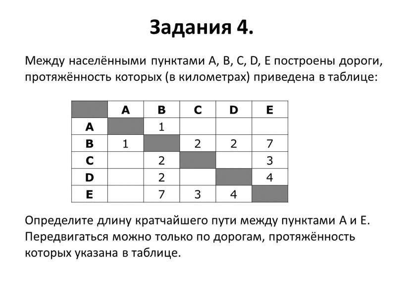Задания 4. A B C D E A 1 B 1 2 7