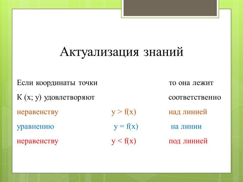Актуализация знаний Если координаты точки то она лежит