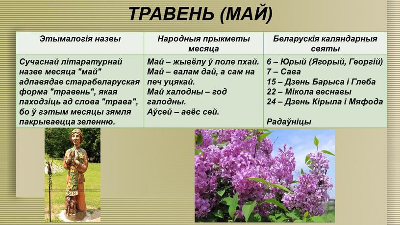 ТРАВЕНЬ (МАЙ) Этымалогія назвы