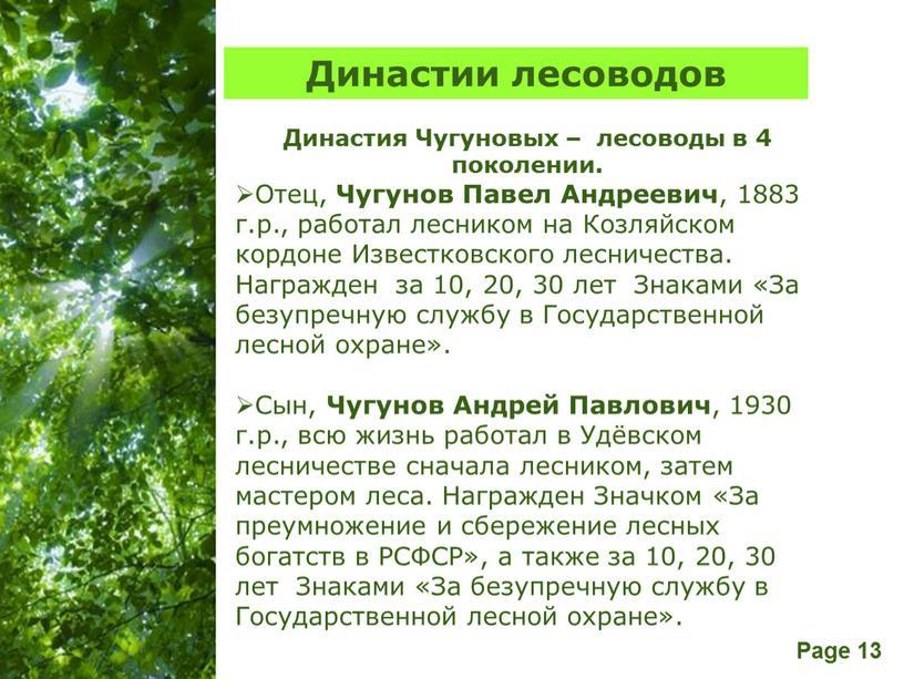 Династии лесоводов Династия Чугуновых – лесоводы в 4 поколении