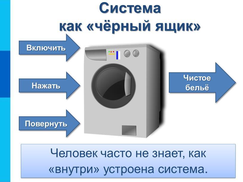 Чистое бельё Повернуть Система как «чёрный ящик»