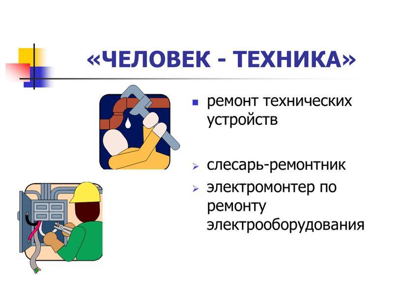 ЧЕЛОВЕК - ТЕХНИКА» ремонт технических устройств слесарь-ремонтник электромонтер по ремонту электрооборудования