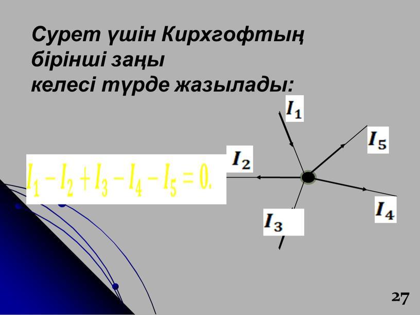 Сурет үшін Кирхгофтың бірінші заңы келесі түрде жазылады: 27