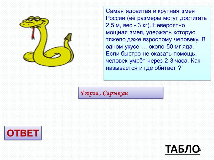 ТАБЛО Самая ядовитая и крупная змея