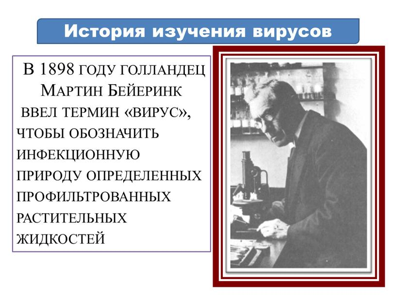В 1898 году голландец Мартин Бейеринк ввел термин «вирус», чтобы обозначить инфекционную природу определенных профильтрованных растительных жидкостей