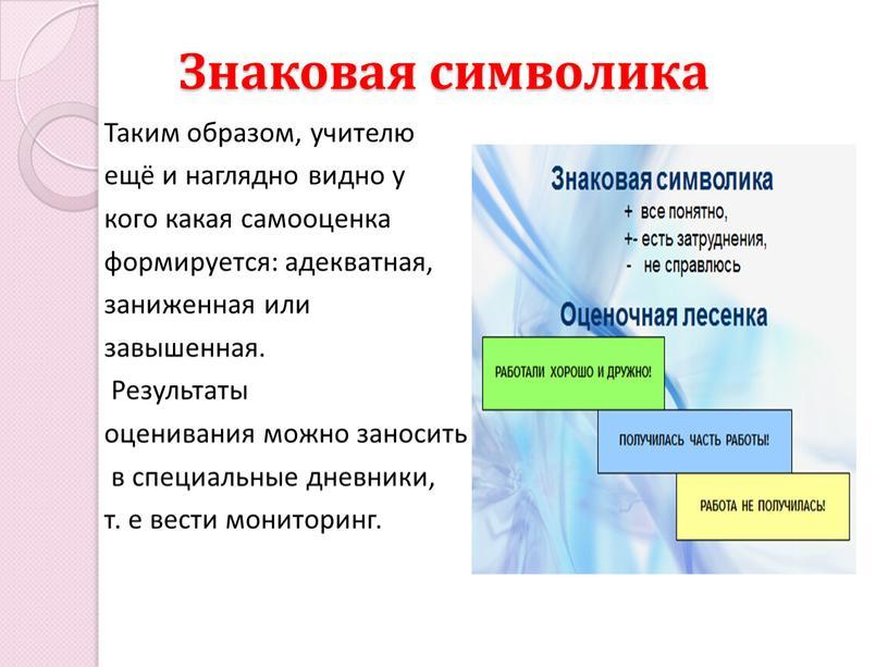 Знаковая символика Таким образом, учителю ещё и наглядно видно у кого какая самооценка формируется: адекватная, заниженная или завышенная
