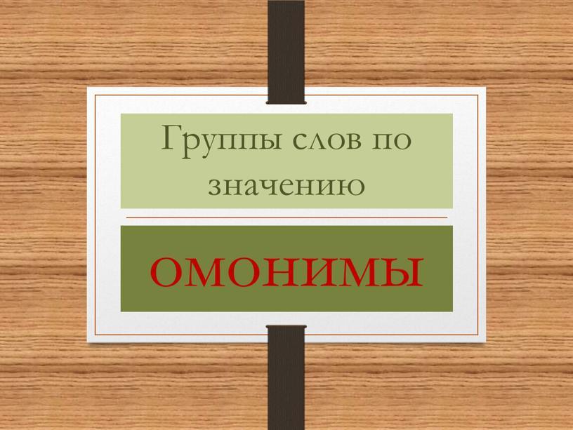 Группы слов по значению омонимы