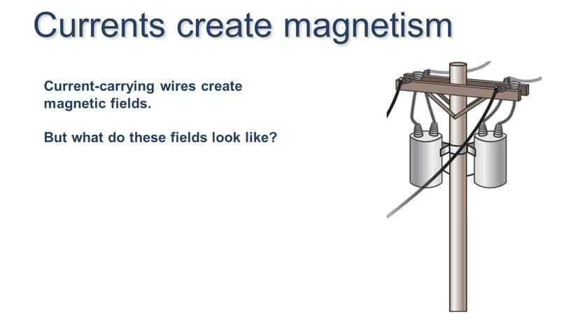 Currents create magnetism Current-carrying wires create magnetic fields