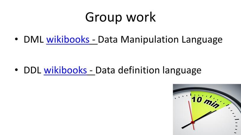 Group work DML wikibooks - Data
