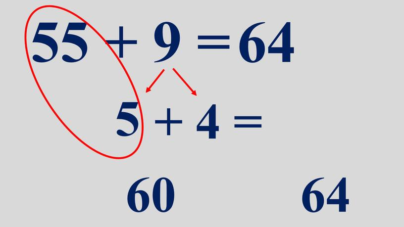 55 + 9 = 64 5 + 4 = 60 64