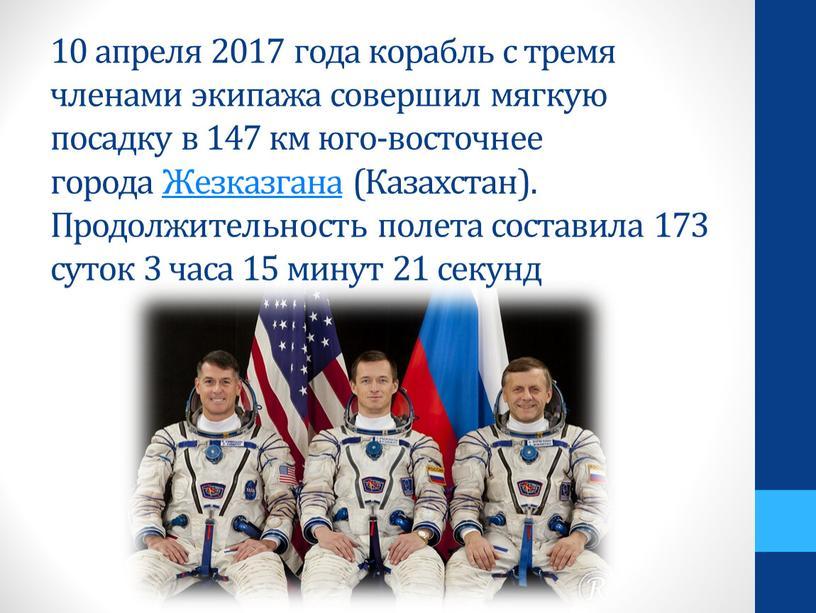 Жезказгана (Казахстан). Продолжительность полета составила 173 суток 3 часа 15 минут 21 секунд