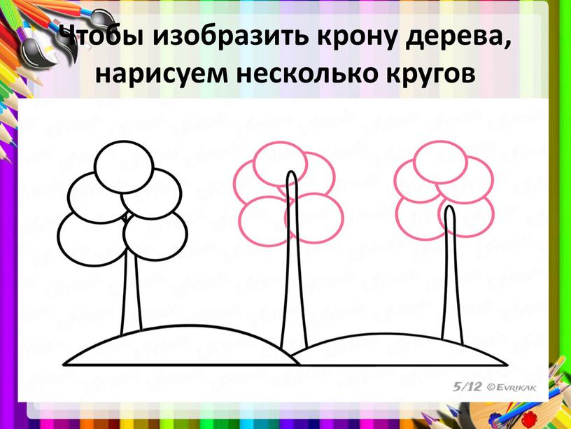 Чтобы изобразить крону дерева, нарисуем несколько кругов
