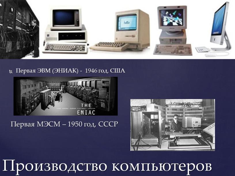 Первая ЭВМ (ЭНИАК) - 1946 год,