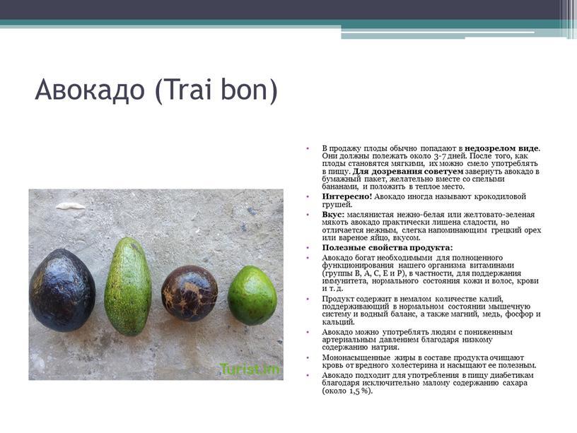 Авокадо (Trai bon) В продажу плоды обычно попадают в недозрелом виде
