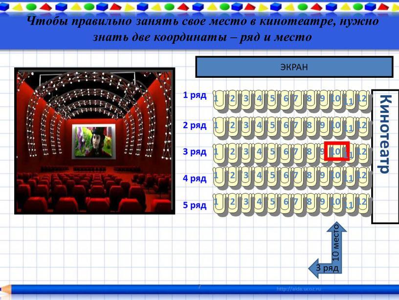 Чтобы правильно занять свое место в кинотеатре, нужно знать две координаты – ряд и место