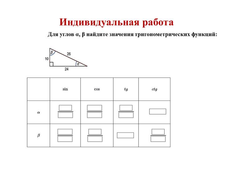 Индивидуальная работа Для углов α, β найдите значения тригонометрических функций: