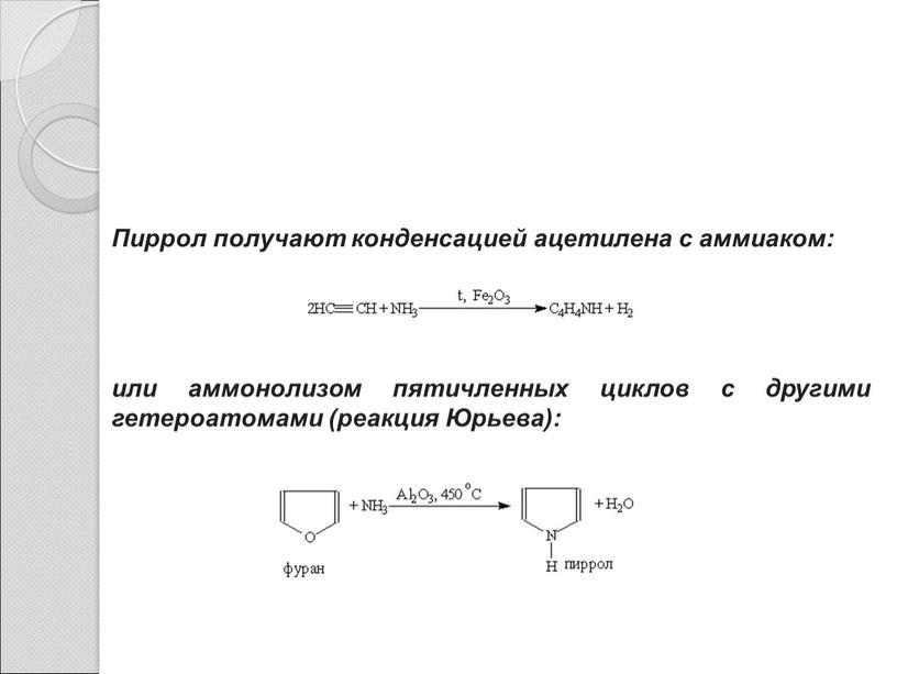 Пиррол получают конденсацией ацетилена с аммиаком: или аммонолизом пятичленных циклов с другими гетероатомами (реакция