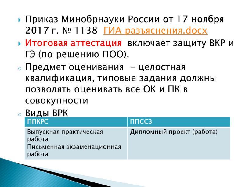 Приказ Минобрнауки России от 17 ноября 2017 г