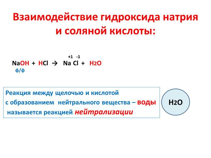Взаимодействие гидроксида натрия и соляной кислоты: