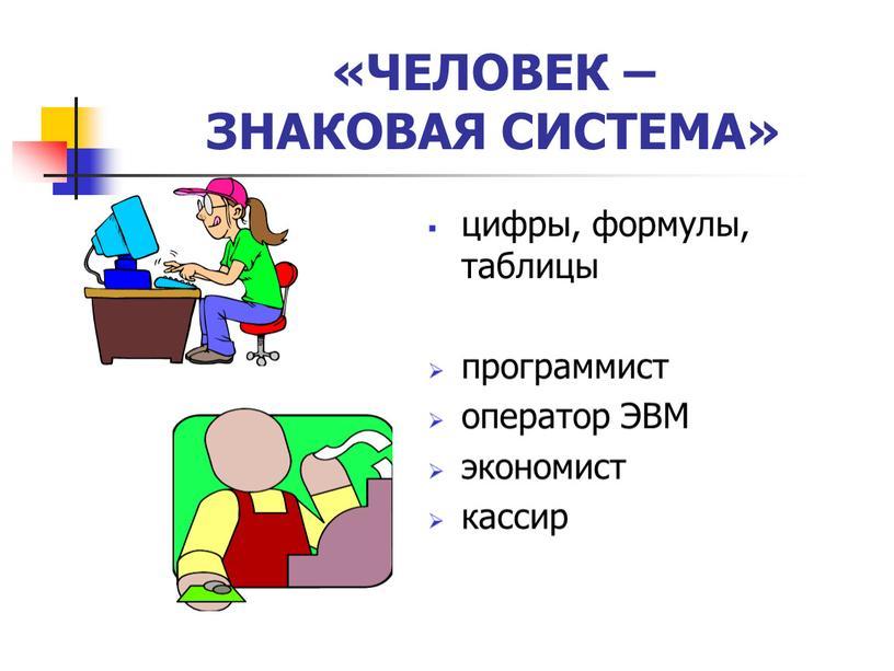 ЧЕЛОВЕК – ЗНАКОВАЯ СИСТЕМА» цифры, формулы, таблицы программист оператор