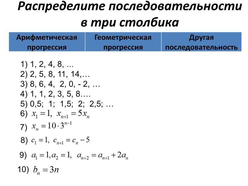 Распределите последовательности в три столбика 1) 1, 2, 4, 8,