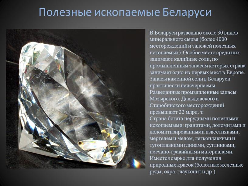 Полезные ископаемые Беларуси В