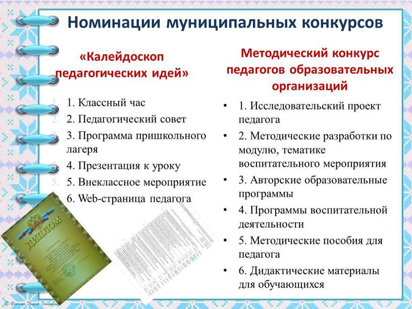 Номинации муниципальных конкурсов «Калейдоскоп педагогических идей» 1