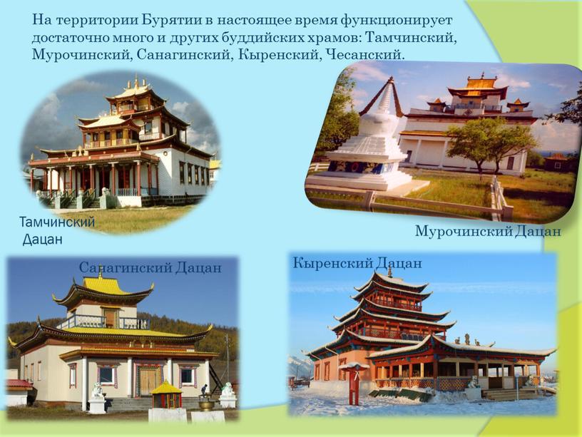 На территории Бурятии в настоящее время функционирует достаточно много и других буддийских храмов:
