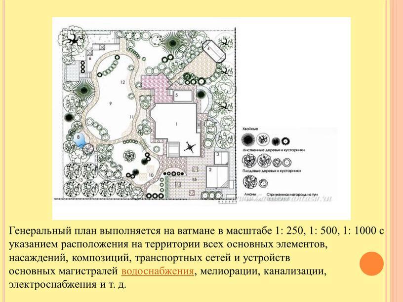 Генеральный план выполняется на ватмане в масштабе 1: 250, 1: 500, 1: 1000 с указанием расположения на территории всех основных элементов, насаждений, композиций, транспортных сетей…