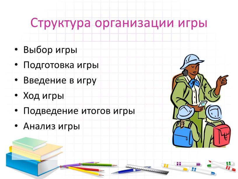 Структура организации игры Выбор игры