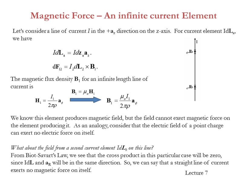 Magnetic Force – An infinite current