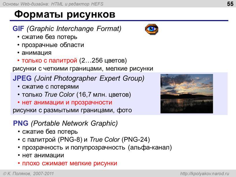 Форматы рисунков GIF (Graphic