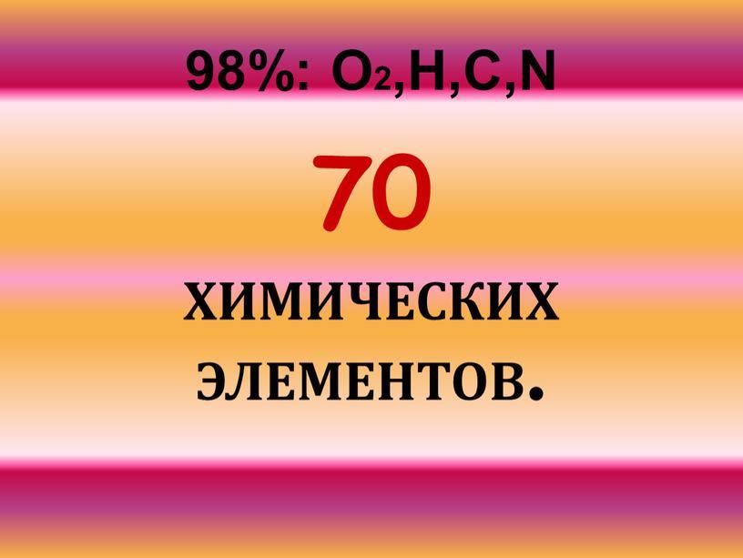 О2,Н,С,N 70 ХИМИЧЕСКИХ ЭЛЕМЕНТОВ