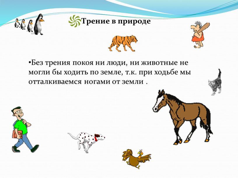 Без трения покоя ни люди, ни животные не могли бы ходить по земле, т