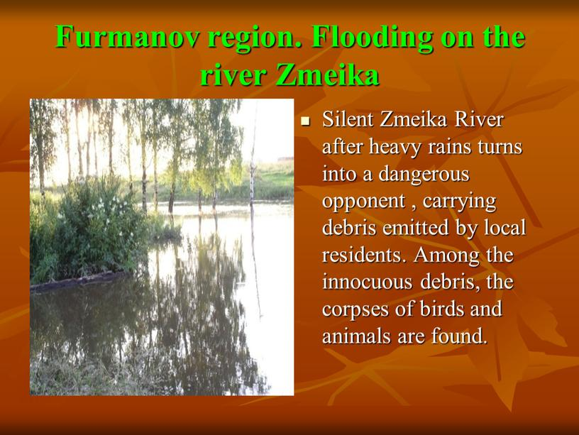 Furmanov region. Flooding on the river
