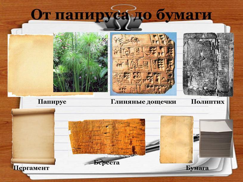 От папируса до бумаги Папирус Глиняные дощечки