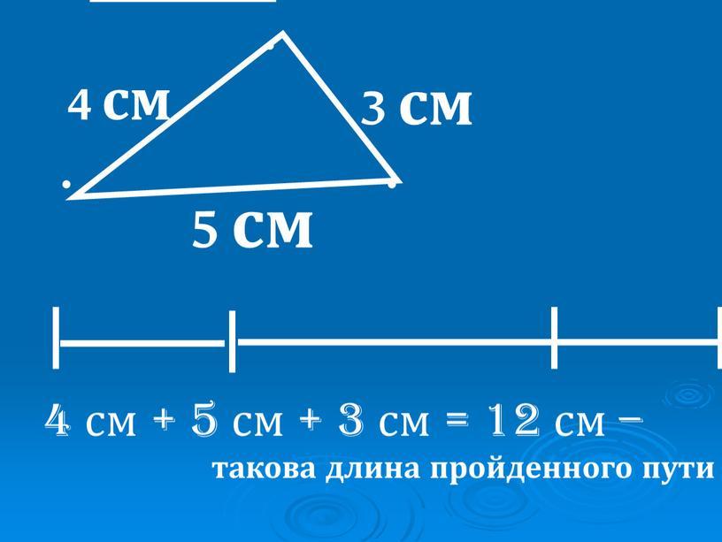 3 см 4 см 5 см 4 см + 5 см + 3 см = 12 см – такова длина пройденного пути