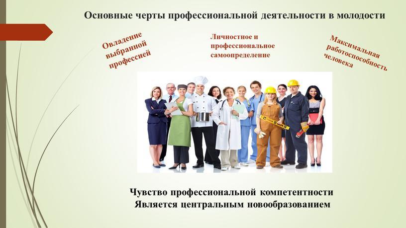 Основные черты профессиональной деятельности в молодости