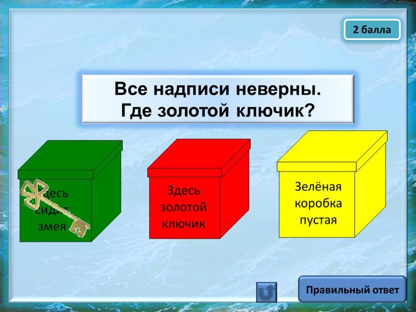 Правильный ответ Зелёная коробка пустая