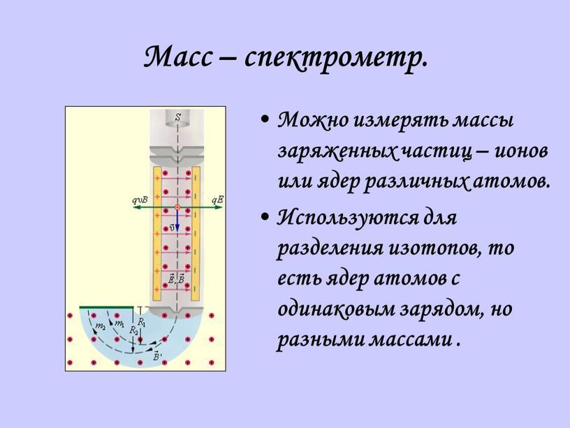 Масс – спектрометр. Можно измерять массы заряженных частиц – ионов или ядер различных атомов