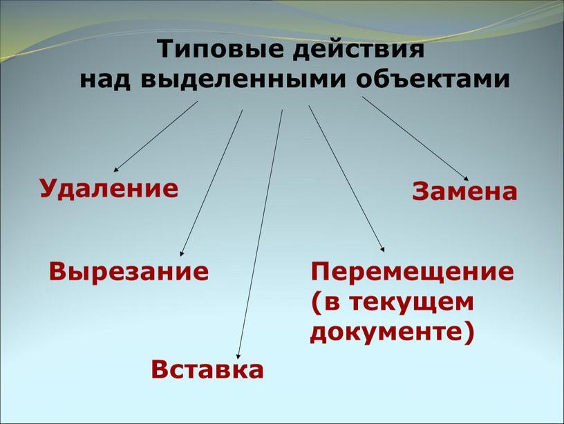 Типовые действия над выделенными объектами