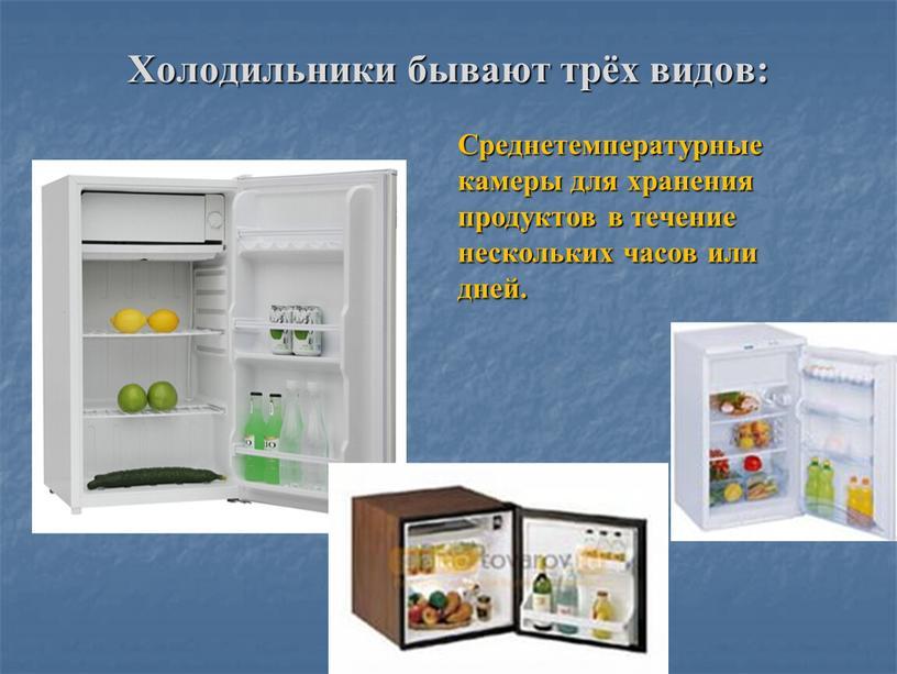Холодильники бывают трёх видов: