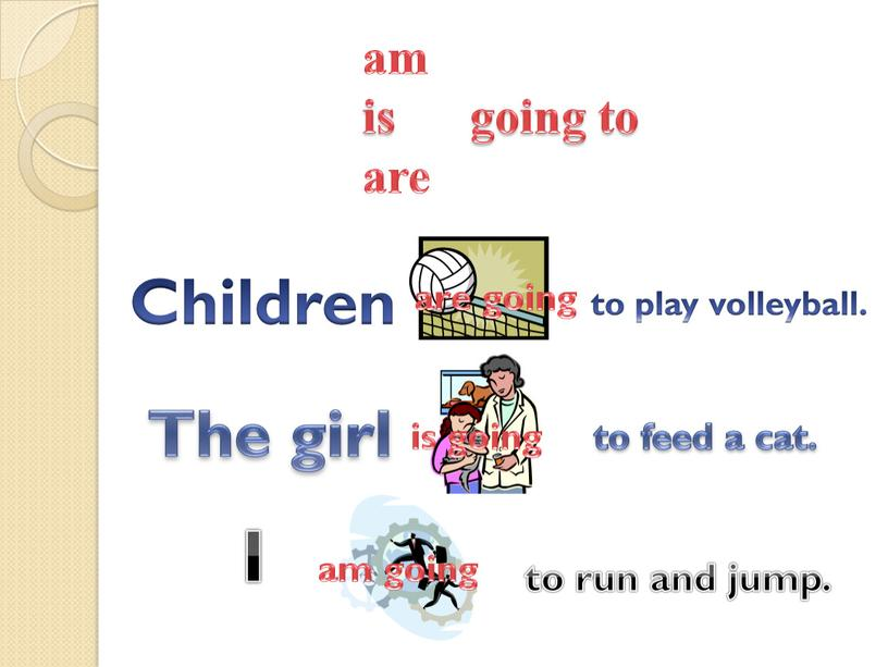 Children to play volleyball. am is going to are