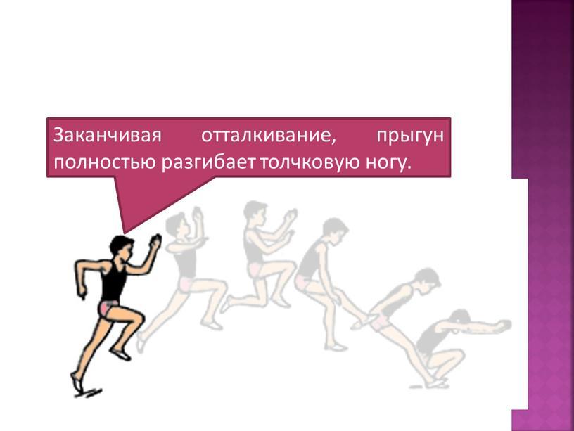 Заканчивая отталкивание, прыгун полностью разгибает толчковую ногу