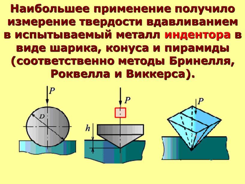 Наибольшее применение получило измерение твердости вдавливанием в испытываемый металл индентора в виде шарика, конуса и пирамиды (соответственно методы