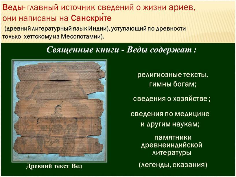 Древний текст Вед Священные книги -