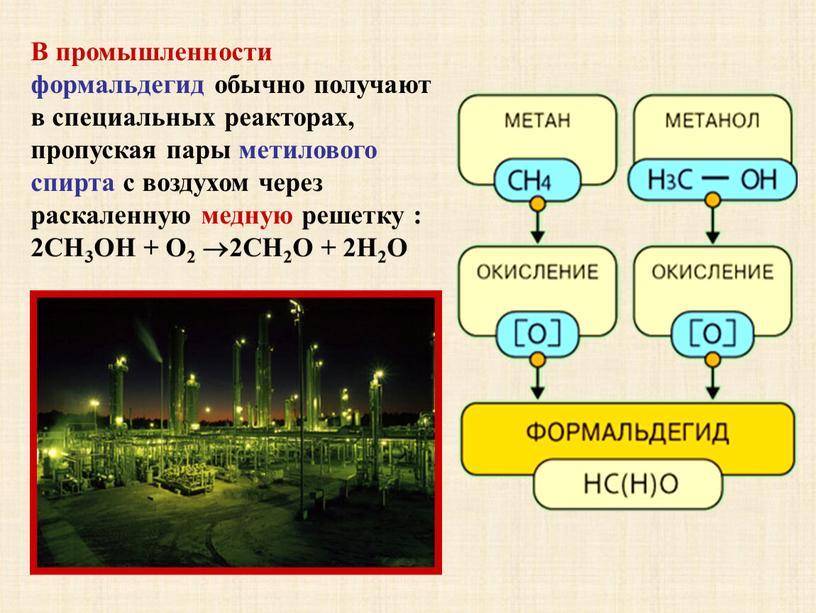 В промышленности формальдегид обычно получают в специальных реакторах, пропуская пары метилового спирта с воздухом через раскаленную медную решетку : 2CH3ОН +